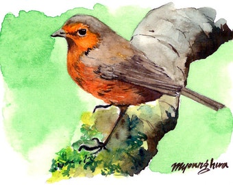 ACEO Limited Edition 3/25 ~A Fowl Gang of Five, Remi the Robin~ in watercolor