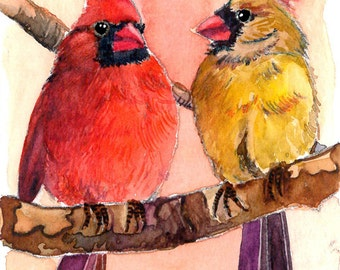 ACEO Limited Edition 5/25- Two of Us, Cardinals, Bird art print of original ACEO watercolor by Anna Lee, Small gift idea for bird lovers