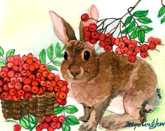ACEO Limited Edition 6/25- Rabbit and berries, Art print of an original watercolor painting, Animal painting, Small housewarming gift idea