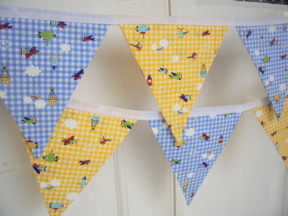 SALE - aeroplanes, helicopter, rocket, aviation, blue & yellow check fabric bunting - 12 Flags