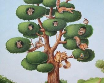 Nursery Art - Squirrel Tree Art Print, Animal Art, Nursery Decor