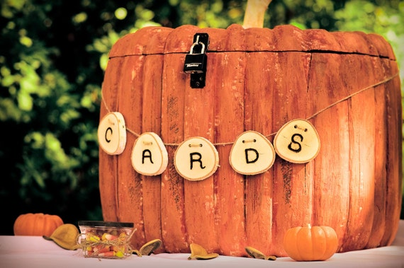 Items Similar To Custom Wood Hand Carved Painted Pumpkin Card Box Or Wedding