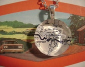 Morgan City, Louisiana - 1952. Beveled glass pendant fashioned from a vintage 1952 map.