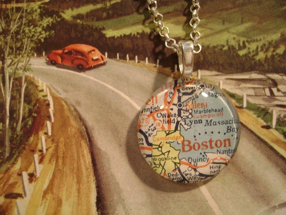 Boston, MA - 1952. Beautiful glass pendant hand-crafted from a vintage 1952 map.
