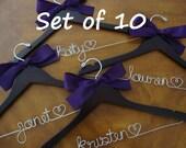 Set of 10---Personalized Hanger,  Custom Bridal Hangers,Bridesmaids gift, Wedding hangers with names,Custom made hangers