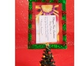 Christmas tree picture frame ornament in traditional red and green shimmering ribbon with beads and upcycled Christmas Tree figurine