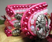 Wrap Bracelet, Pink Cuff Bracelet, Pink Wrap Bracelet, Bohemian Style, Pearl Bracelet, Valentines Day