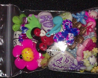 CLEARANCEGrab Bag - Party Bag - Beads Cabochons Charms - Variety Pack Assortment -  50 Surprise Pieces