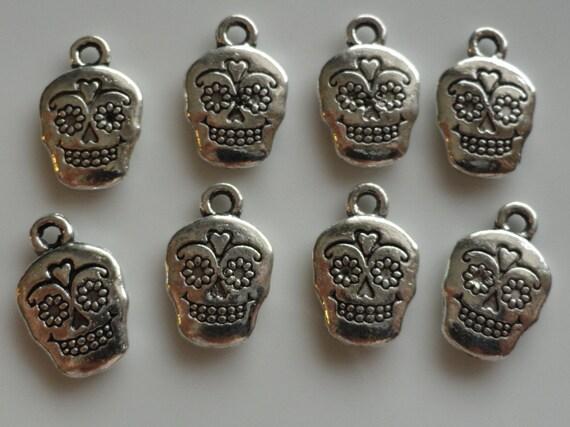 CLEARANCE 12 Sugar Skull Charm Bracelet Pendant Antique Silver Color Tibetan Style 1 Inch
