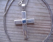 Sterling Silver Blue Topaz Cross Pendant Box Chain Necklace