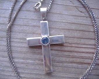Sterling Silver Blue Topaz Cross Pendant Necklace