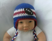 Blue, White & Red Crochet Baby Football  Earflap Beanie Hat-- 3-6 Mos. - Ready to Ship