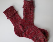 Handcranked Socks Burgundy Variegated Wool Cotton