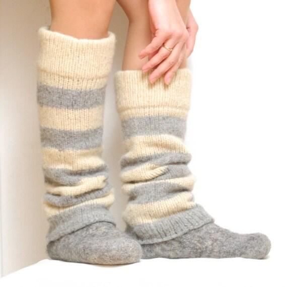 Boiled Wool Striped Leg Warmers White Gray Knit Leg Warmers