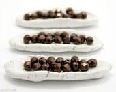 Bronze Fire Polished Beads 6mm (35) Dark Czech Glass Opaque Faceted Polish Brown Metallic