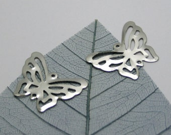 SALE Silver Butterfly Connector Beads 16mm (100) Wholesale Pendant Charm Metal Gray