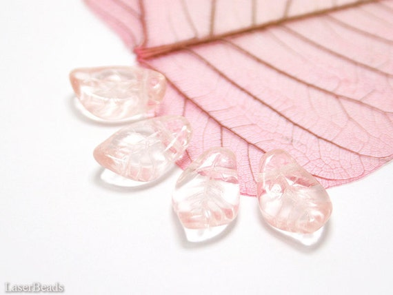 Pink Czech Glass Leaf Beads 15mm (16) Pressed Leaves