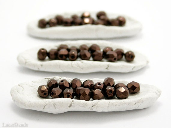 Bronze Fire Polished Beads 6mm (35) Dark Czech Glass Opaque Faceted Polish Brown Metallic