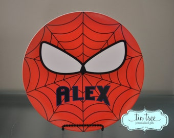 Personalized Plate - Spiderman - Customized Superhero Plates for Boys
