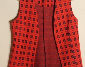 Vintage 70s Vest and Pants Set - Red and Blue Checkered - Size Large