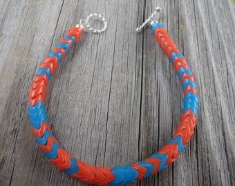 African trade bead bracelet in Orange and ocean blue with sterling silver components