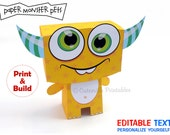 Yellow Monster Favor, Candy, Gift Box - Editable Text Printable PDF - INSTANT DOWNLOAD
