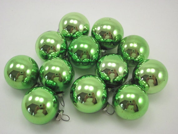 Vintage Green Mercury Glass Feather Tree Christmas Holiday Ornaments Boxed Set of Twelve