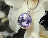 Purple Crystal Pendant, Swarovski Rivoli Crystal Jewelry