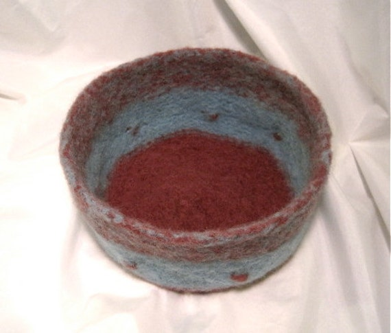 Wine and Blue Felted Alpaca Bowl with Bobbles