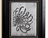 Linocut Chrysanthemum Print Silver ink on Black Paper with Matte Frame