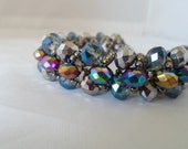Metallic Beauty- Crystal Bracelet w/ Seed Bead Netting & Magnetic Clasp