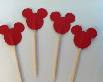 12 red mickey cupcake toppers