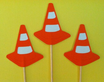 12 safety cones, traffic cones cupcake toppers-appetizer picks-food picks-birthday cupcake toppers