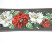 Full Vintage Wallpaper Border - TRIMZ - Beautiful Red and White Flowers on Chocolate Brown - Floral - 4 inch