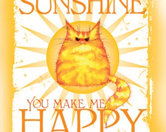 You Are My Sunshine cat greetings card
