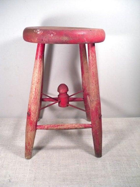 Vintage Painted Farm Stool - Wood Milk Stool