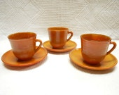 Set of 3 French Vintage Arcopal Volcan Opaque Amber Glass Cups & Saucers (A513)