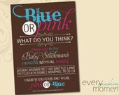 Gender Reveal Party Invitation -- digital, custom, printable -- Gender Reveal -- Gender Reveal Party -- Blue or Pink