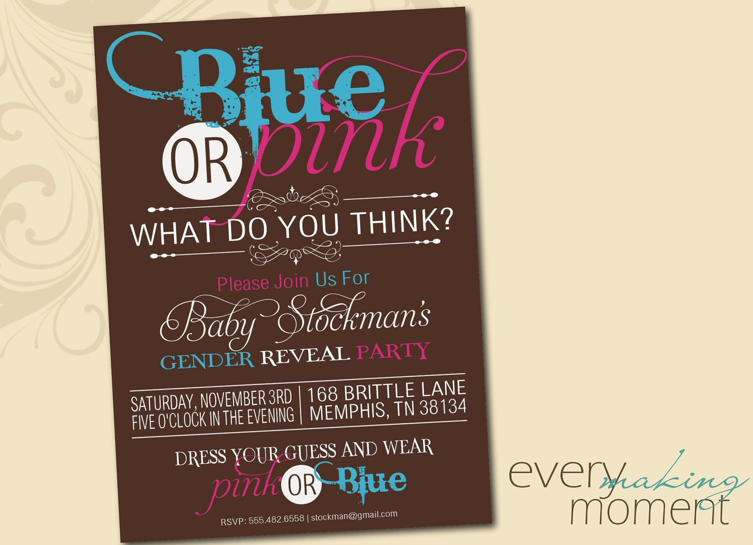 This is a graphic of Unforgettable Free Printable Gender Reveal Party Invitations
