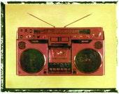 Red boombox art, music wall decor, musicians gift, gift for guy, gift for boyfriend, hipster, dude, rock n roll art