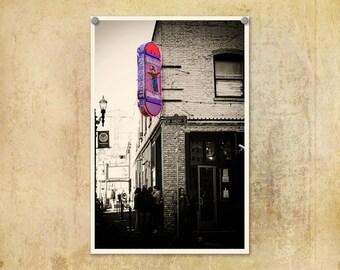 Portland Oregon Photography Voodoo Doughnut Pink and Sepia--Fine Art Digital Print 8x12