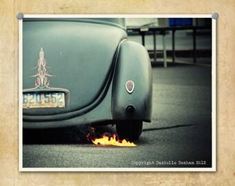 Car Photography Classic Lowrider Burnout--Fine Art Lomography 8x10