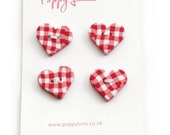 Handcrafted Polymer Clay Pink Gingham Heart Shaped Buttons - Set of 4