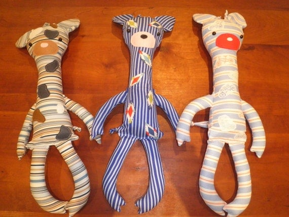 "Giraffe stuffed toy, 22 inches tall, Michael Miller ""children at play"" fabric, Troy"
