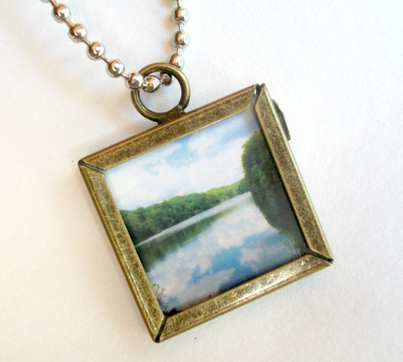 Photography Necklace Antiqued Brass Original Photography Art Pendant Necklace With Silver Ball Chain Art Pendant