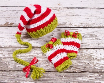 Crochet Elf hat and Leg Warmers, Christmas Holidays, baby newborn, photo prop