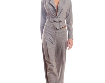 Light gray wool blend stretch tweed pants suit