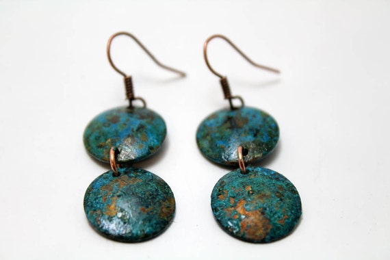 Small Round Copper Earrings