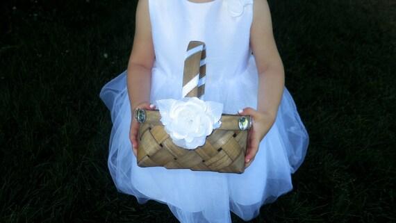 Clearance - Flower Girl Basket - Wedding Flower Girl Basket - Brown Flower Girl Basket - White Rose Basket - Storage Basket - Gift Basket
