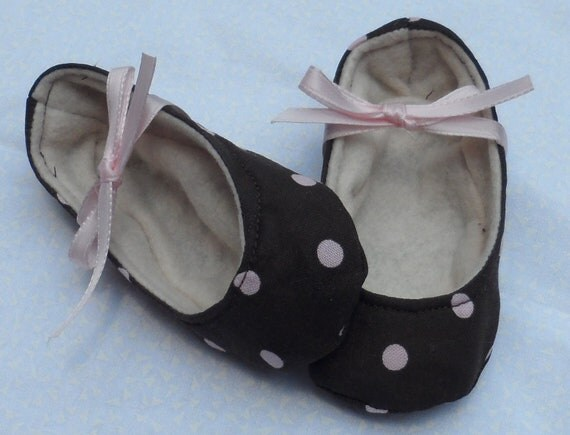 Brown Baby Girl Shoes With Pink Dots